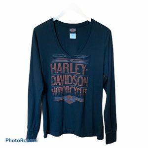 Harley-Davidson v neck long sleeves tee SZ L EUC